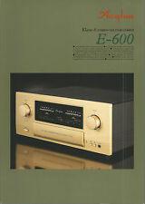 Accuphase e-600 Catalogo Prospetto Catalogue datasheet brochure