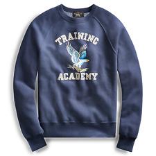 48ab84b0 RRL Ralph Lauren Blue Eagle Naval Cotton Blend Fleece Sweatshirt Men's 2xl