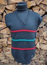 Vintage Yves Saint Laurent YSL Black w/ Stripes Pure Wool Sweater Vest Sz M