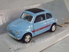 """Fiat 500 Sport Light Blue Die Cast Metal Model Car 5"""" Kinsmart Collectable New"""