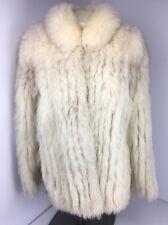 SAGA Blue Fox Fur Womens coat/jacket white/gray long sleeve size 10 EUC Vintage