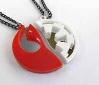 Star Wars Rebels Empire best friends necklaces Laser cut red white plastic