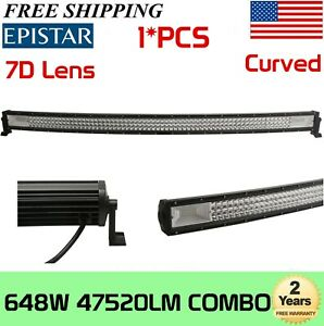 "50"" 648W Curved Tri-Row LED Light Bar For Jeep GMC Boat Wrangler JK TJ LJ YJ"