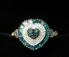 Blue & White Diamond Heart-shaped Ring in Plat'm Overlay Sterling Silver, Size O
