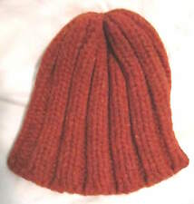 Melodie Hat, M Hand Knitted Peaked Heavy RUSSET Orange Stretchy WARM COZY @@
