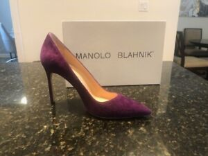 Manolo Blahnik Purple Suede BB 105 Heels/Pumps, 39/9, Rts $600!!!