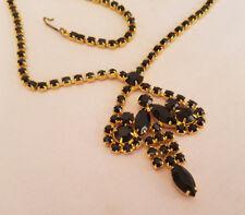 Long Vintage Black Rhinestone Necklace Gold Tone Statement Dangle Tassel