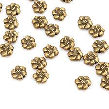 30pcs Hot Sale Antique Bronze Findings Solid Flower Metal Loose Spacer Bead L