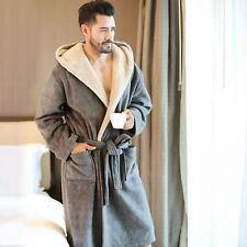 Luxury Men Robe Winter Warm Soft Hooded Sleepwear Male Long Bathrobes Comfort