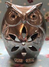 Silver Ceramic Owl Tea Lighr Holder