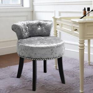 Ice Velvet Dressing Stool with Low Back Black High Legs Living Room Bedroom