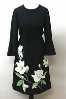 HOBBS Ladies Navy Multi 3/4 Bell Sleeve Crew Neck Magnolia Print Dress UK6 BNWT