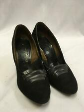 Vintage 1940s / 1950s Black Suede  Shoes Size 5.5 utility WW2 VE day
