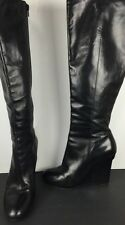 "Vera Wang Lavender Black Vero Cuoio Boots 4.5"" Wedge Leather Size 8.5 $495."