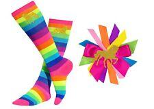 Bubblegum Divas Girls Rainbow Knee High Socks Kids 4-6 Gold Unicorn Gift Set