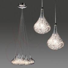 Lámpara Colgante Cristal Transparente Alambre Plata Gotas G4 10x20W de Techo