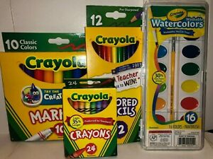 Set of Crayola Crayons, Colored Pencils, Markers, and Watercolors. New Condition