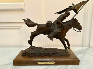 G. Harvey - Confederate Charge bronze sculpture on wood stand - 115/175