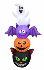 Halloween Air Blown Inflatable Yard Decoration Totem Pole Cat Pumpkin Bat Ghost