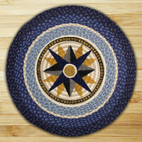 """Blue COMPASS ROSE 100% Natural Braided Jute Rug, 27"""" Round, Capitol Earth Rugs"""