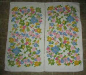 2 Vintage Cannon Monticello Pink Yellow Blue Green Floral Bath Towels USA