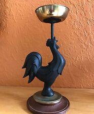 """Rooster solid black metal figurine votive candle holder brass 8""""H 1 lb"""