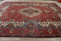 Vintage Geometric Red Tebriz Are Rug Hand-Knotted Living Room Wool Carpet 10x13