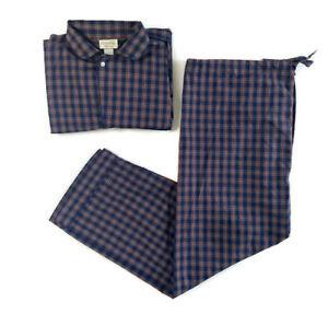 🔴Christian Dior Pajama Set Men's Size X-Large Blue Red Green Plaid 2 Piece