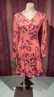 Noblemoon Longsleeve Pink Dress w/ Roses Womans Small V-neck Cute Floral