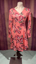 Noblemoon Longsleeve Pink Dress w/ Roses Womans Large V-neck Cute Floral Spring