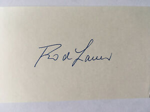 """GRAND SLAM"" TENNIS CHAMPION ROD LAVER AUTOGRAPHED 3X5 INCH INDEX CARD"