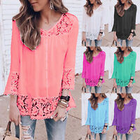 Plus Size Women Long Sleeve V-Neck Loose T-Shirt Lace Tunic Tops Casual Blouse