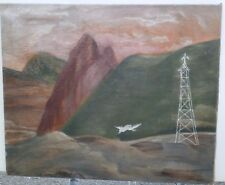 Mountain Landscape with Bird & Tower-Surrealist Oil Painting-1930s-Amalia Ludwig