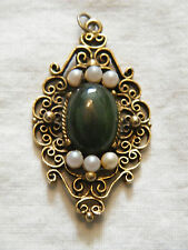 Stunning Pendant Gold Tone Filigree Faux Pearls Jade Green Cabochon WOW