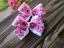 "Hair Bows a pair of Medium 2"" Pink Baby Minnie Mouse  all pink Hair Bows USA"