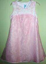 Bonnie Jean Girls Size 12 Pink Flowers Sheer Overlay Skirt Sleeveless Dress