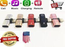 Dual Lightning Headphone Adapter Splitter Audio Earphone Charger Iphone 2 in 1