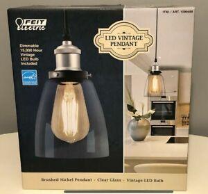 Feit Electric LED Pendant Light Brushed Nickel Vintage Light Hanging Light