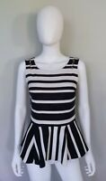 Anthropologie Postmark Womens Peplum Top Small Cotton Blend Black White Striped