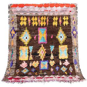 Beni Ourain VINTAGE Handmade Moroccan Azilal Boujjad rug 4 FT X 5 FT carpet