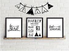 Custom Baby Birth Print  Announcement Nursery Wall Art Set of 3