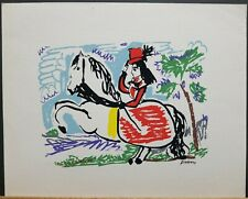 """Pablo Picasso Vintage Plate Signed Serigraph """"Woman on Horse""""  10""""×12.5"""""""