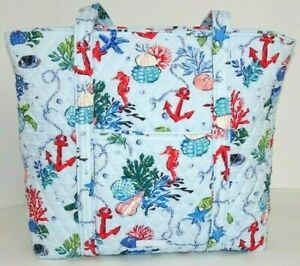 Vera Bradley VERA TOTE Anchors Aweigh with Zip Closure Shoulder Bag XL