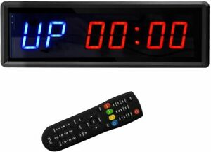 """NEW BTBSIGN LED INTERVAL TIMER WORKOUT/ GYM CLOCK WITH 1.5"""" BLUE & RED NUMBERS"""
