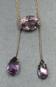 9ct Yellow Gold Amethyst Handmade Necklace with Cable Link Chain