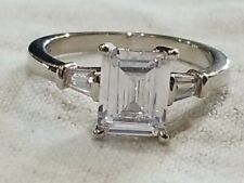 With Tapered Baguettes Size 9 Sterling Silver Emerald Cut Cz Ring