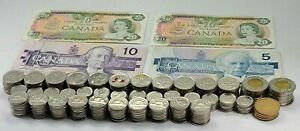 Canada Vintage and Spendable Banknotes & Coins Circulated Lot ($146.50FV)