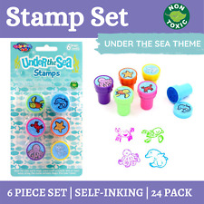 24 X Under The Sea Kids Stamp Set 6pcs   Self Ink STAMPS Stampers Party Favours
