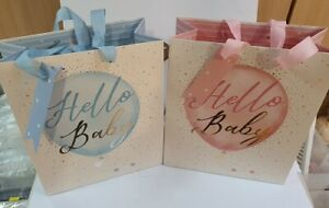 Baby Gift Bag Hello Baby with Gold Glitter Medium Size Boy or Girl With Gift Tag