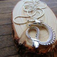 Coiled Dragon Choker Necklace Sterling Silver Short 42 cm Snake Chain UK GoT
